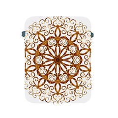 Golden Filigree Flake On White Apple Ipad 2/3/4 Protective Soft Cases by Amaryn4rt