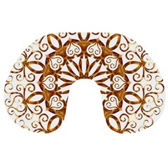 Golden Filigree Flake On White Travel Neck Pillows by Amaryn4rt