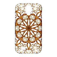 Golden Filigree Flake On White Samsung Galaxy S4 Classic Hardshell Case (pc+silicone) by Amaryn4rt