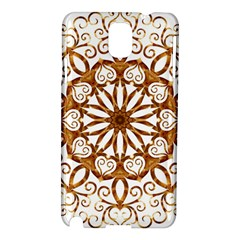 Golden Filigree Flake On White Samsung Galaxy Note 3 N9005 Hardshell Case by Amaryn4rt