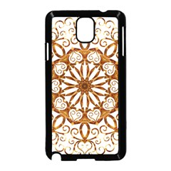 Golden Filigree Flake On White Samsung Galaxy Note 3 Neo Hardshell Case (black) by Amaryn4rt