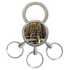 Fractal Image Of Copper Pipes 3 Ring Key Chains by Amaryn4rt