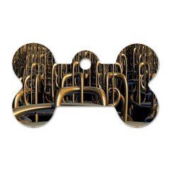 Fractal Image Of Copper Pipes Dog Tag Bone (one Side) by Amaryn4rt