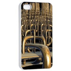 Fractal Image Of Copper Pipes Apple Iphone 4/4s Seamless Case (white) by Amaryn4rt