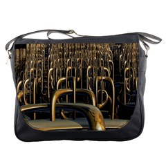 Fractal Image Of Copper Pipes Messenger Bags by Amaryn4rt