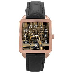 Fractal Image Of Copper Pipes Rose Gold Leather Watch  by Amaryn4rt