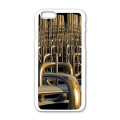Fractal Image Of Copper Pipes Apple Iphone 6/6s White Enamel Case by Amaryn4rt