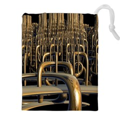 Fractal Image Of Copper Pipes Drawstring Pouches (xxl) by Amaryn4rt