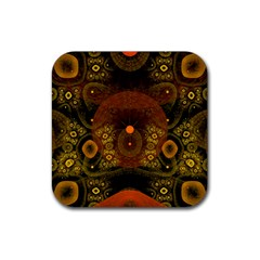 Fractal Yellow Design On Black Rubber Square Coaster (4 Pack)  by Amaryn4rt