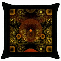 Fractal Yellow Design On Black Throw Pillow Case (black) by Amaryn4rt