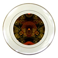Fractal Yellow Design On Black Porcelain Plates by Amaryn4rt