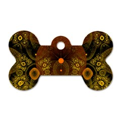 Fractal Yellow Design On Black Dog Tag Bone (one Side)