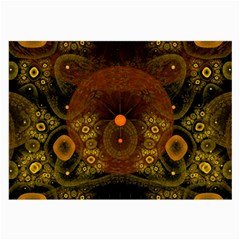 Fractal Yellow Design On Black Large Glasses Cloth by Amaryn4rt