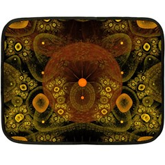 Fractal Yellow Design On Black Fleece Blanket (mini) by Amaryn4rt
