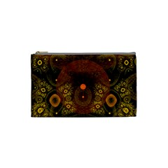 Fractal Yellow Design On Black Cosmetic Bag (small)  by Amaryn4rt