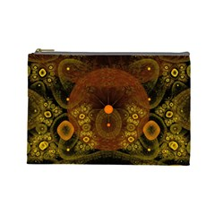 Fractal Yellow Design On Black Cosmetic Bag (large)  by Amaryn4rt