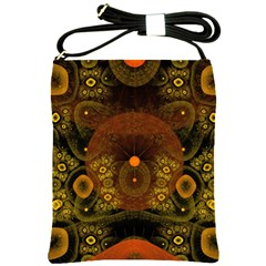 Fractal Yellow Design On Black Shoulder Sling Bags by Amaryn4rt