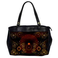 Fractal Yellow Design On Black Office Handbags by Amaryn4rt