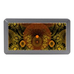 Fractal Yellow Design On Black Memory Card Reader (mini) by Amaryn4rt