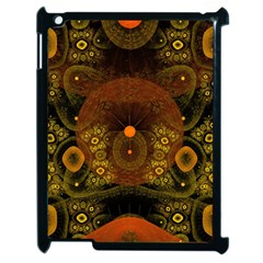 Fractal Yellow Design On Black Apple Ipad 2 Case (black) by Amaryn4rt