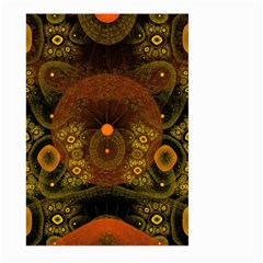 Fractal Yellow Design On Black Large Garden Flag (two Sides) by Amaryn4rt