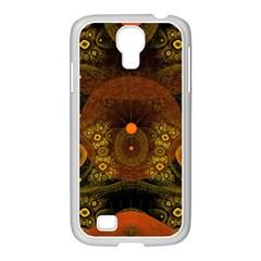 Fractal Yellow Design On Black Samsung Galaxy S4 I9500/ I9505 Case (white) by Amaryn4rt