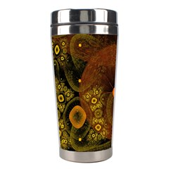 Fractal Yellow Design On Black Stainless Steel Travel Tumblers by Amaryn4rt