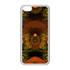 Fractal Yellow Design On Black Apple Iphone 5c Seamless Case (white) by Amaryn4rt