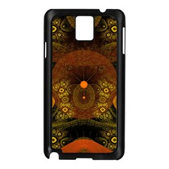 Fractal Yellow Design On Black Samsung Galaxy Note 3 N9005 Case (black) by Amaryn4rt