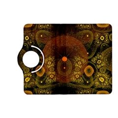 Fractal Yellow Design On Black Kindle Fire Hd (2013) Flip 360 Case by Amaryn4rt