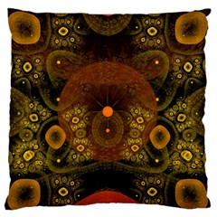 Fractal Yellow Design On Black Large Flano Cushion Case (two Sides) by Amaryn4rt