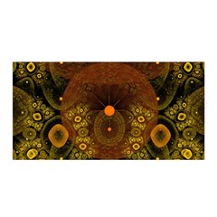 Fractal Yellow Design On Black Satin Wrap by Amaryn4rt