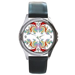 Fractal Kaleidoscope Of A Dragon Head Round Metal Watch by Amaryn4rt