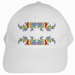Fractal Kaleidoscope Of A Dragon Head White Cap by Amaryn4rt