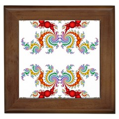 Fractal Kaleidoscope Of A Dragon Head Framed Tiles by Amaryn4rt