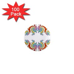 Fractal Kaleidoscope Of A Dragon Head 1  Mini Magnets (100 Pack)  by Amaryn4rt