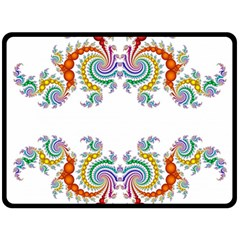 Fractal Kaleidoscope Of A Dragon Head Double Sided Fleece Blanket (large)  by Amaryn4rt