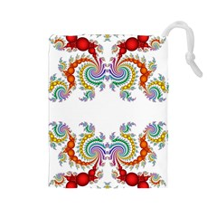 Fractal Kaleidoscope Of A Dragon Head Drawstring Pouches (large)  by Amaryn4rt