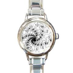 Fractal Black Spiral On White Round Italian Charm Watch by Amaryn4rt