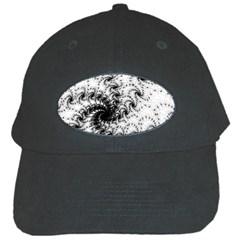 Fractal Black Spiral On White Black Cap by Amaryn4rt