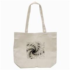 Fractal Black Spiral On White Tote Bag (cream) by Amaryn4rt