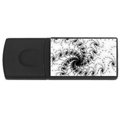 Fractal Black Spiral On White Usb Flash Drive Rectangular (4 Gb) by Amaryn4rt