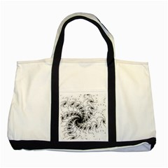 Fractal Black Spiral On White Two Tone Tote Bag by Amaryn4rt