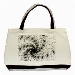Fractal Black Spiral On White Basic Tote Bag (two Sides) by Amaryn4rt