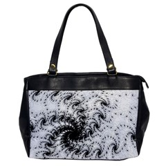 Fractal Black Spiral On White Office Handbags by Amaryn4rt