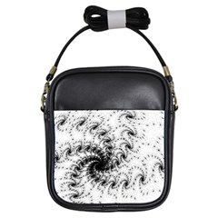 Fractal Black Spiral On White Girls Sling Bags by Amaryn4rt