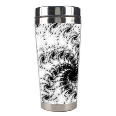 Fractal Black Spiral On White Stainless Steel Travel Tumblers by Amaryn4rt