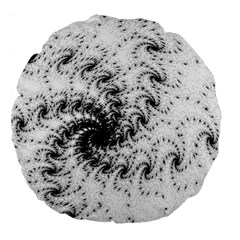 Fractal Black Spiral On White Large 18  Premium Flano Round Cushions by Amaryn4rt