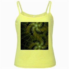 Fractal Wallpaper With Blue Flowers Yellow Spaghetti Tank