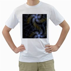 Fractal Wallpaper With Blue Flowers Men s T-Shirt (White) (Two Sided)